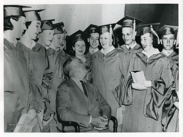 President Roosevelt is visiting graduates of Arthurdale High School in 1938.