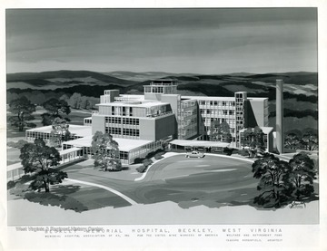 A drawing of the Beckley Memorial Hospital nearing completion in Beckley, West Virginia.  'Copyrighed 1955 All rights reserved by Harlow Warren 320 North Kanawha Street Beckley, W. Va.'