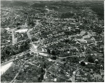 Aerial view of a part of Beckley including the Neville Maytag and Furniture Co.