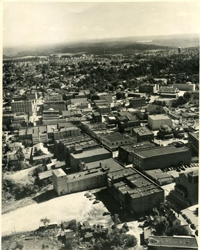Aerial view of a portion of Beckley, Smokeless Coal Capital courtesy Harry E. Anderson; 'Copyrighted 1955, All Rights Reserved by Harlow Warren, 320 North Kanawha St., Beckley, W. Va.'