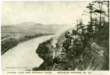 Postcard of Lovers' Leap and Potomac River in Morgan County, W. Va.