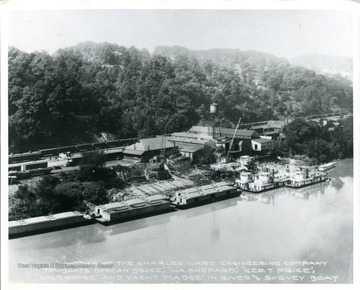 'Works of the Charles Ward Engineering Company towboats 'Duncan Bruce,' 'W. A. Shepard,' 'George T. Price,' 'Wild Goose,' and yacht 'Madge,' in river and survey boat.'