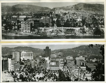 View of Charleston Business District, Charleston, West Virginia in 1890 (Top;) View of Charleston Business District, Charleston, West Virginia in 1941 (Bottom.)