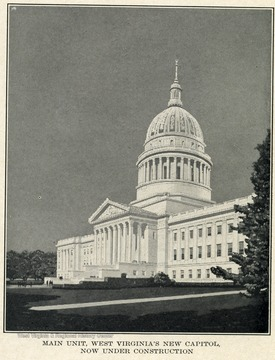 Drawing of capitol building under construction in Charleston.
