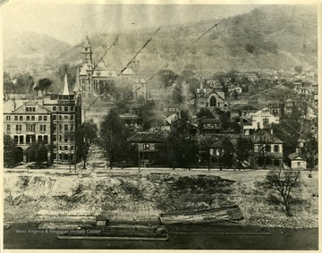 A close-up view of Charleston, West Virginia in 1901.