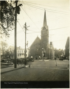 Church on the corner of Main and Second Street in Clarksburg, W. Va.