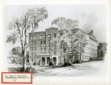 An ink drawing of St. Mary's Hospital, in Clarksburg, West Virginia.