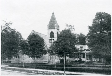 Prebysterian Church and Manse (ministers' residence) with trees in front of them, Elkins, W.Va., Randolph County.