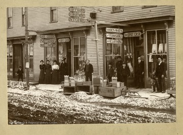 People and goods in front of George H. Coffman Store in Elkins, West Virginia; See W. Va. Gazeteers 1903-04; 1923-24.