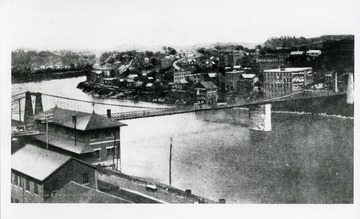 Postcard of the Suspension Bridge crossing the Monongahela River in Fairmont, West Virginia.