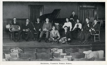 Group portrait of the Fairmont State Normal School Orchestra in Fairmont, Marion County, West Virginia.