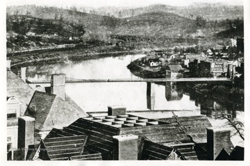 Postcard of the Suspension Bridge over the Monongahela River in Fairmont, West Virginia.