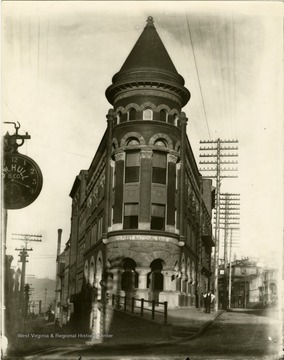 View of the entrance and tower of the First National Bank in Grafton, West Virginia.