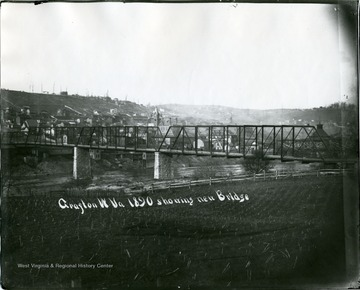 Grafton, W.Va. near bridge with town buildings on the hillside.
