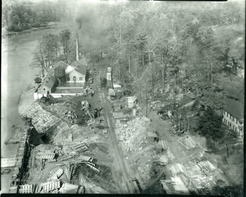 Scene of work being done on the dam.
