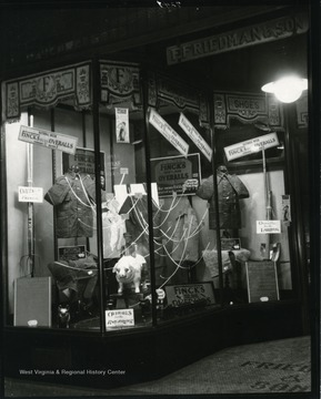 Front entrance and window display of Friedman and Son Clothing Store on Main Street in Grafton, W. Va.