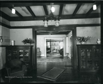 The interior of the Bartlett home, first floor, showing an entrance and lobby and two other rooms.  Grafton, W. Va.