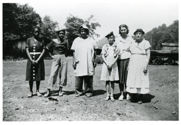 Group of African American women in a work crew.
