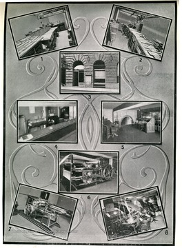 Image from 'Industrial and Picturesque Clarksburg, W. Va.' published by the Press of the Clarksburg Telegram Company, Printers and Publishers, Clarksburg, W. Va., 1911. '1. Make-Up Department, 2. Corner of Job Printing Department, 3. Entrance, 4. Business Office, 5. Editorial Office, 6. Newspaper Printing Press, 7. Book and Job Printing Press, 8. Linotype Machines.'
