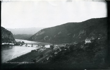 View of Harpers Ferry from atop a hill.