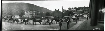 Stagecoaches are lined up in front of a building in Harpers Ferry, W. Va.