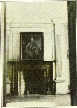 'The handsome porphyry mantel was a present sent to General George Washington by General Lafayette from France.  The portrait over the mantelpiece is that of Colonel Samuel Washington.  In this drawing room in 1794 Dolly Payne Todd became the wife of James Madison, later President of the United States.'