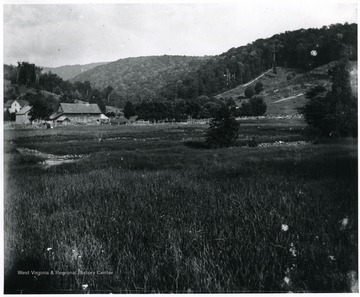 Valley scene of a farmhouse and its fenced in area, Helvetia, W. Va.