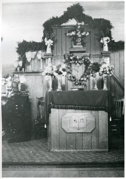 Organ, Communion Table, and Elevated Pulpit visible.  Photo taken some time before 1947.