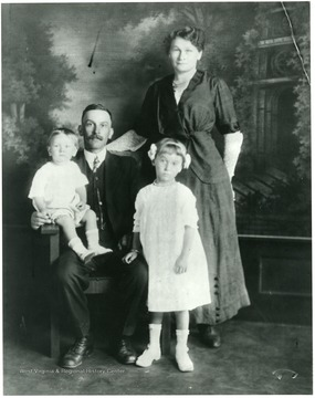 Herman, Babette Schneider and Children, Helen and Alvin. Helvetia, W. Va.