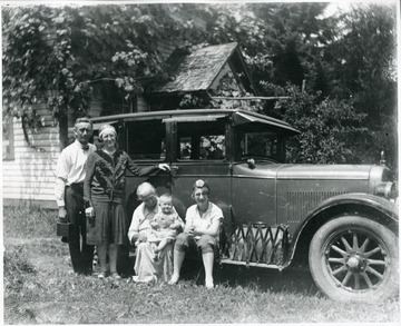 Holtkamp and Aegerter Family members in front of a car, Helvetia, W. Va.