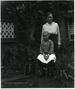 Nellie Schroth Aegerter and Daughter Mariam Aegerter (Doyle) at the Helvetia Aegerter home.  Helvetia, W. Va.