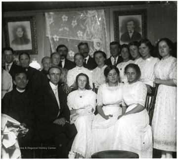 Large group portrait of the Aegerter Family, possibly a wedding party.  Helvetia, W. Va.