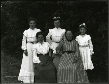 Group of five ladies, standing left to right: Rosa; Frieda; Hulda. Seated left, Ida; right, Marie.