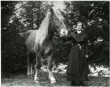 Woman holding a horse by its reins.  Helvetia, W. Va.
