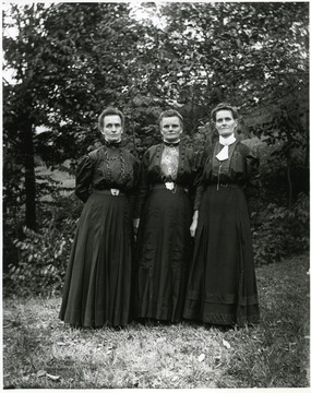 Right to left: Lisetta Stadler Kuenzler, Emma Stadler Burky, and Ida Stadler Betler; taken on the Stadler farm, Helvetia, W. Va. by Walter Aegerter.