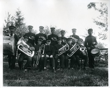 Members of the Helvetia Brass Band with their instruments.