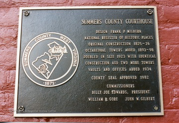 Plaque from the Summers County Courthouse in Hinton, West Virginia.