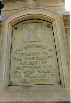 View of the inscription on the monument in Hinton, W. Va. dedicated to the Confederate Soldiers of Greenbrier and New River Valleys.