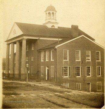 'Greenbrier Courthouse of 1840-1938 as it appeared in 1889.'