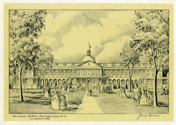 An ink etching of the Greenbrier (Old White Sulphur Springs) in Lewisburg, West Virginia as it appeared in 1858. Men and women are shown mingling in the front lawn of the Greenbrier while a horse drawn carriage driver is dropping off several people.