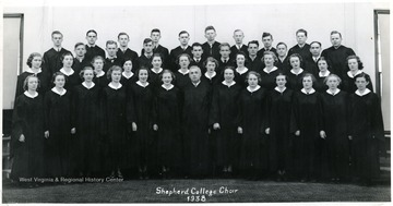 Group photo of the Shepherd College Choir in robes. Only identified member is Melvin Tracy Snyder, top row, 6th from the left.
