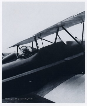 'Melba Gorby Beard, 1907-1987. This photo of Melba in her plane was probably taken at the time she visited her hometown of New Martinsville, West Virginia in the 1930's and had the great adventure with her cousin, Mary Louise Gorby.'