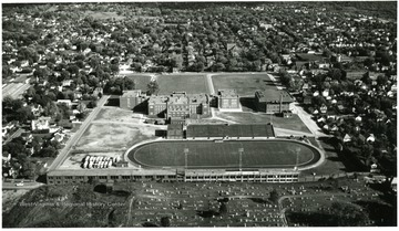 Aerial view of P.H.S. and football field.