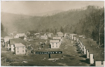 Elevated view of the lumber company town of Jenningston.