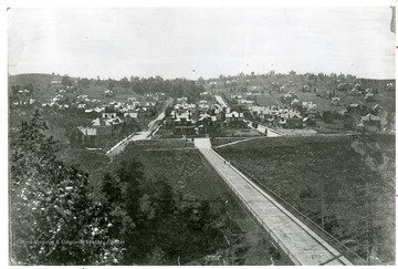 'A view of South Park from the Pleasant Street bridge, circa 1902. Note that Cobun Street dead-ends at Park Street.'