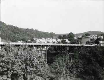 A view of the Walnut Street Bridge from Pleasant Street Bridge in Morgantown, West Virginia.