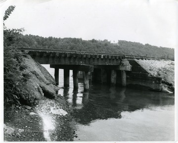 A view of the Railroad Bridge over Backwater of Cheat River in Morgantown, West Virginia.