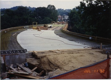 Beginning phases of bridge construction. Raw bridge can be seen with little concrete.