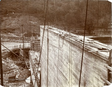 Probably construction of the Cheat Lake Hydro-Electric dam in Monongalia County.