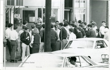 A crowd outside of Acropolis (Nick's) on Willey Street in Morgantown, West Virginia.
